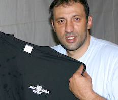 divac with a made in serbia serbian t-shirt